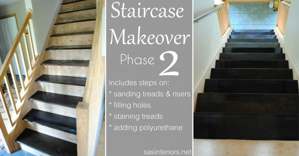 Staircase Makeover Filling Holes And Staining Treads Jenna | Carpet Risers For Stairs | Hardwood Floors | Staircase Makeover | Hardwood | Open Riser | Stair Railing
