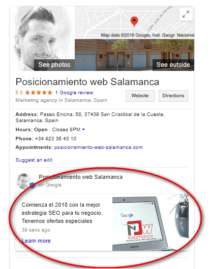 publicacion en google post