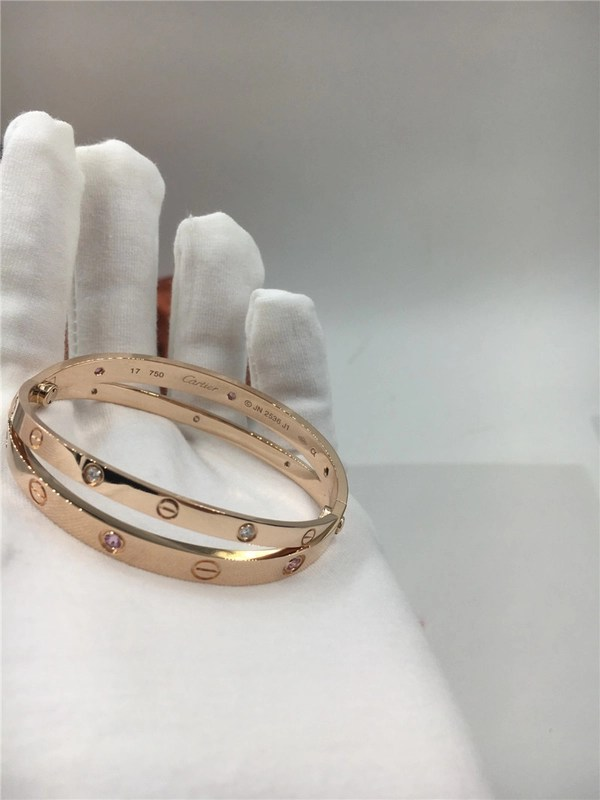 Women S Rose Gold Luxury Diamond Jewelry Cartier Love Bracelet With     China Women S Rose Gold Luxury Diamond Jewelry Cartier Love Bracelet With  Six Pink Sapphires supplier