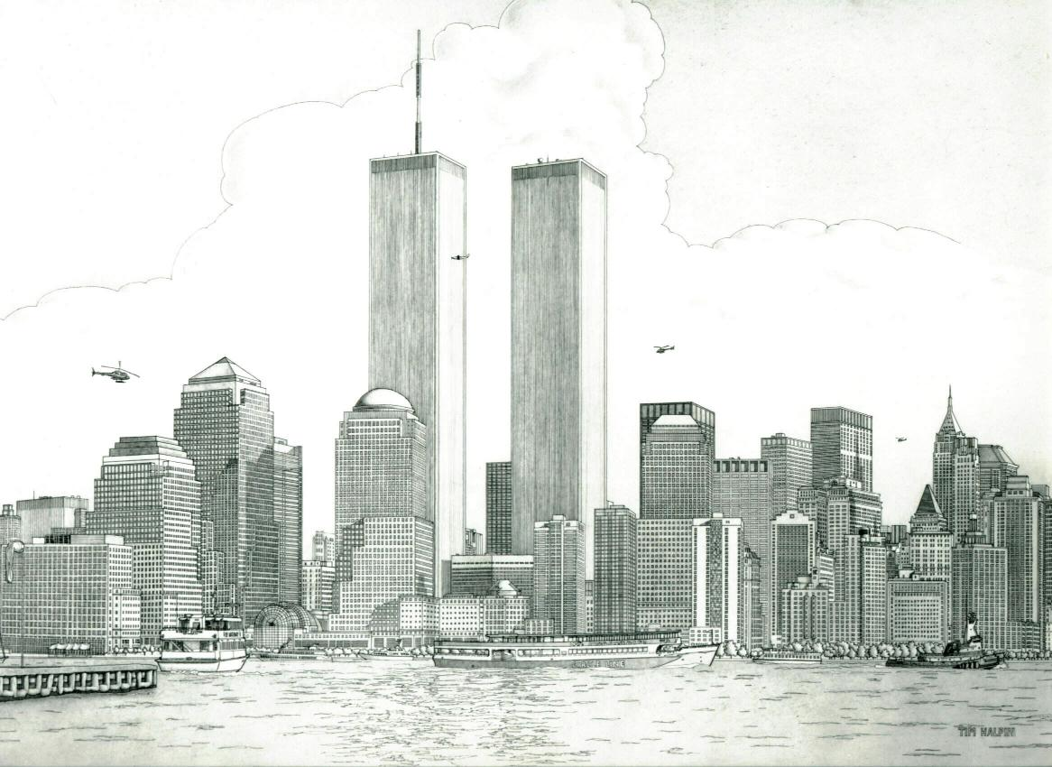 11 X 17 Line Drawing of New York City Skyline with Statue of