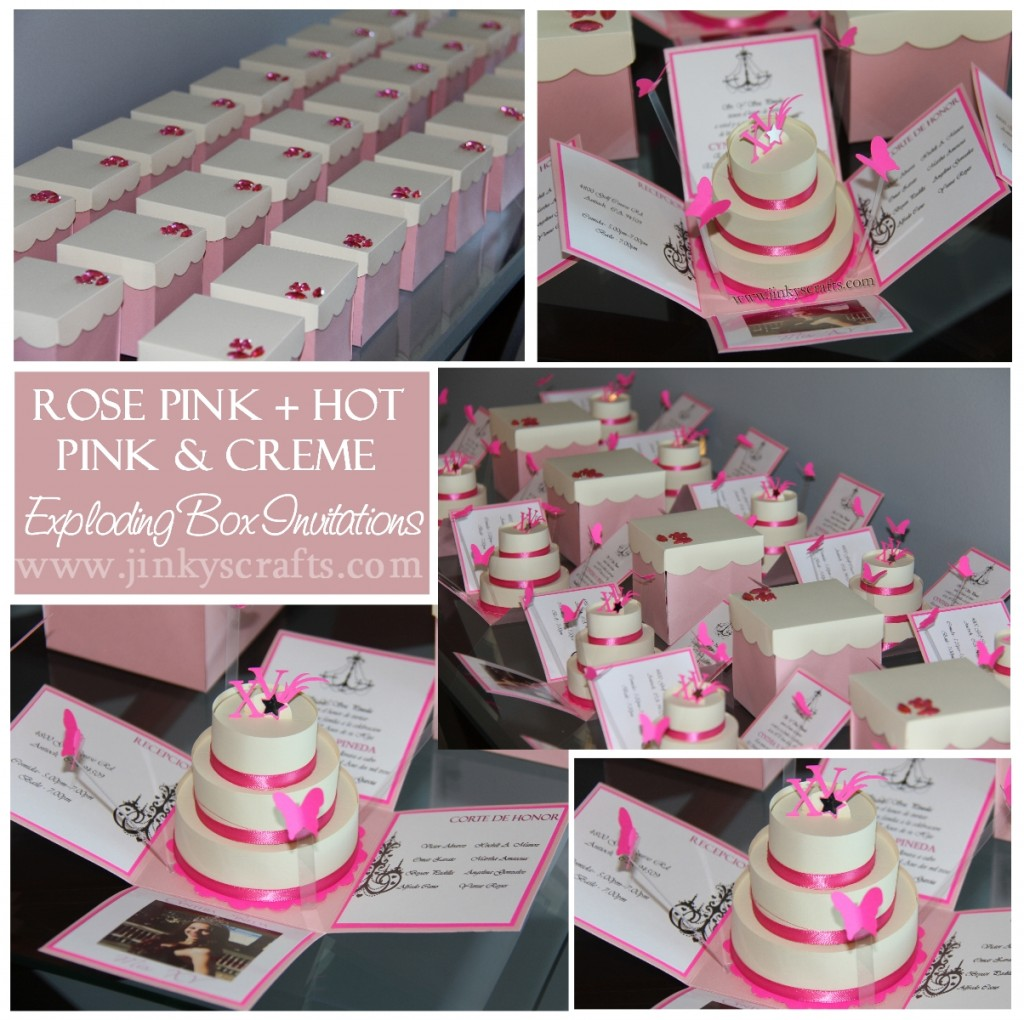 Pink Amp Creme Mis Quince Exploding Box Pop Up Invitations