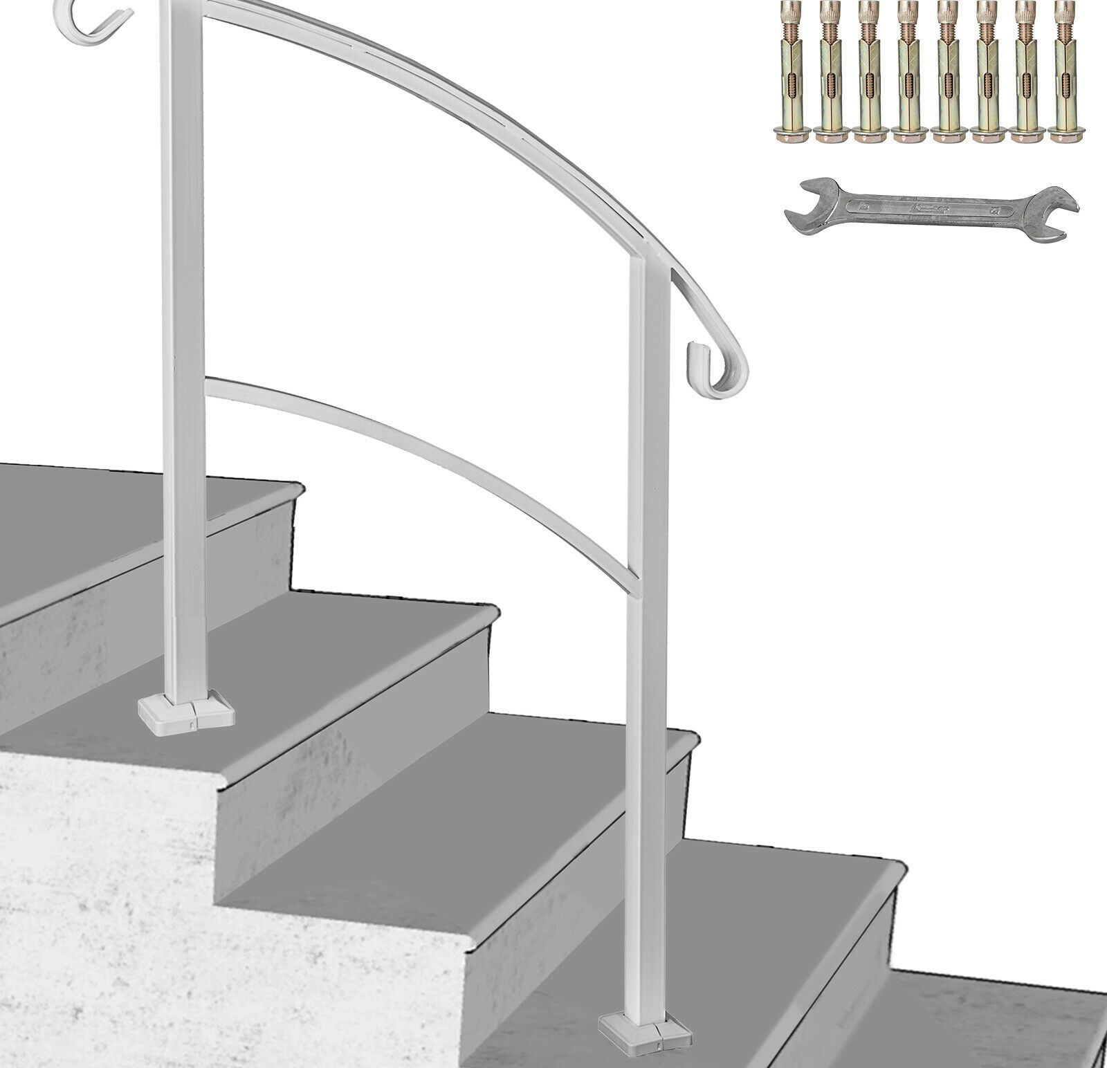 Iron Step Handrail Stair Railing Kit For 3 Step Handrail Outdoor | 3 Step Outdoor Stairs | Wrap Around | Prefab | Outdoor Shed | Framing | Concrete