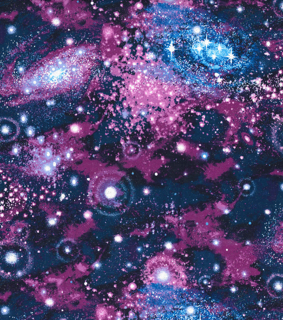 "Novelty Cotton Fabric 44""-Galaxy Purple Glitter 
