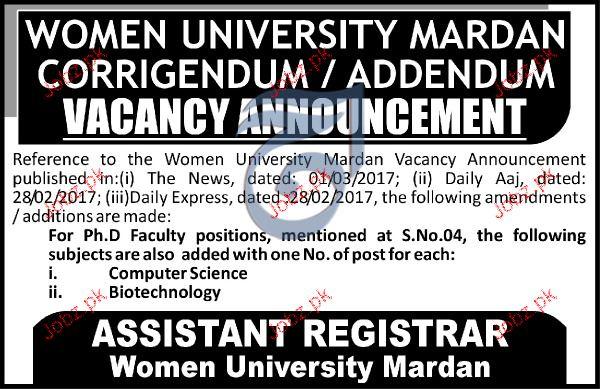 Teaching Jobs In Women University Mardan 2020 Job