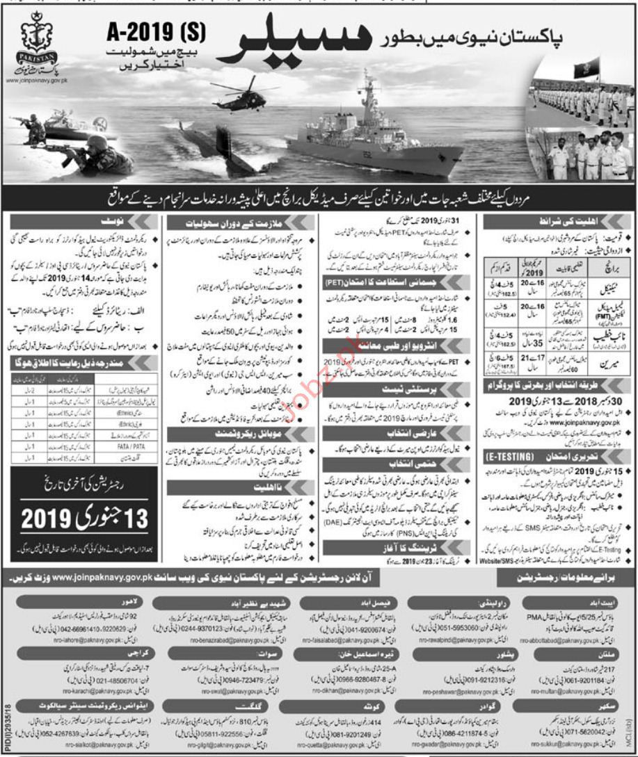 Join Pakistan Navy As Salor 2019 Job Advertisement Pakistan