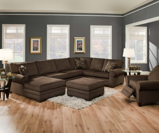 Pretty Brown Velvet Extra Large Sectional Sofas With