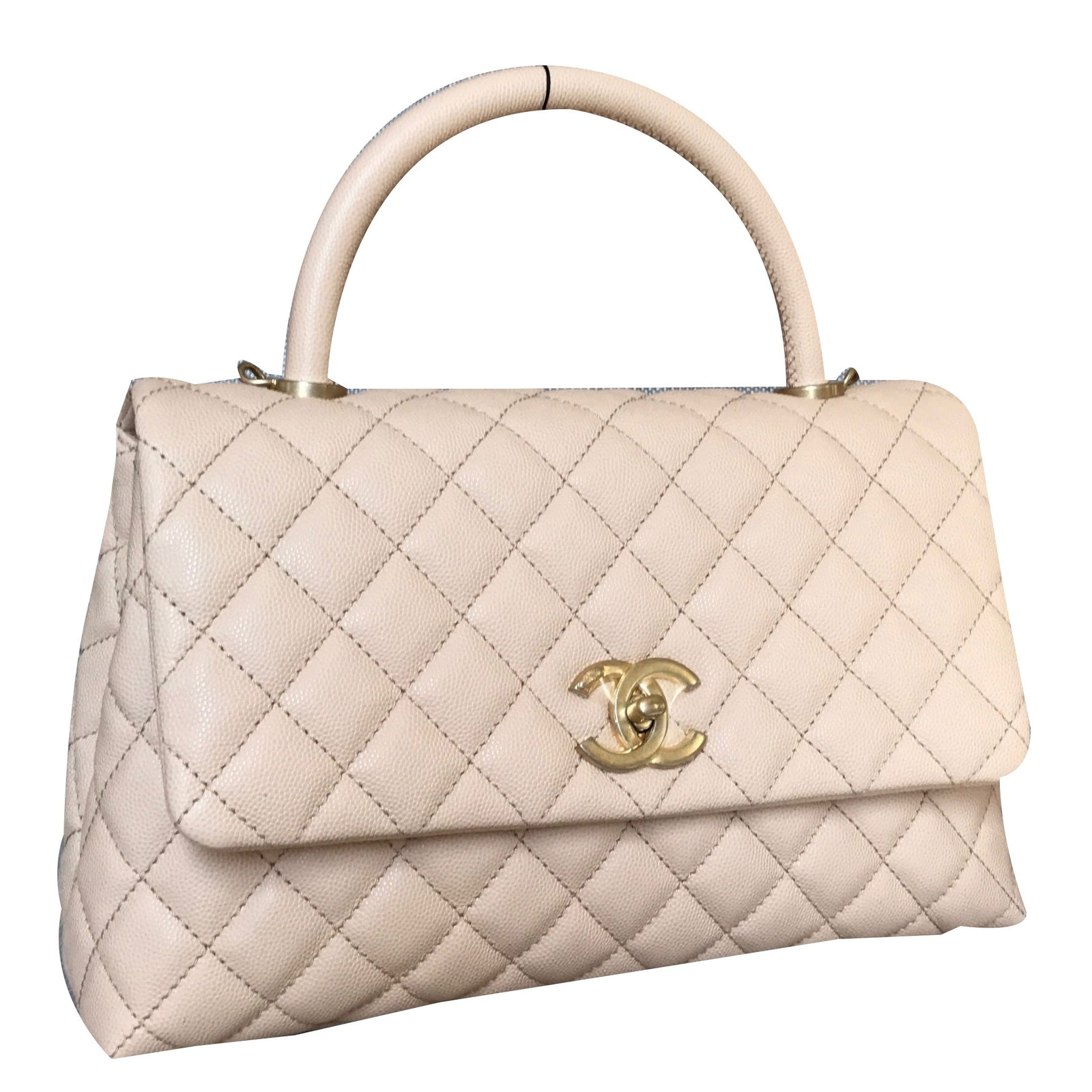 Chanel Coco Handle Handbags Leather Beige ref.38563 - Joli ...