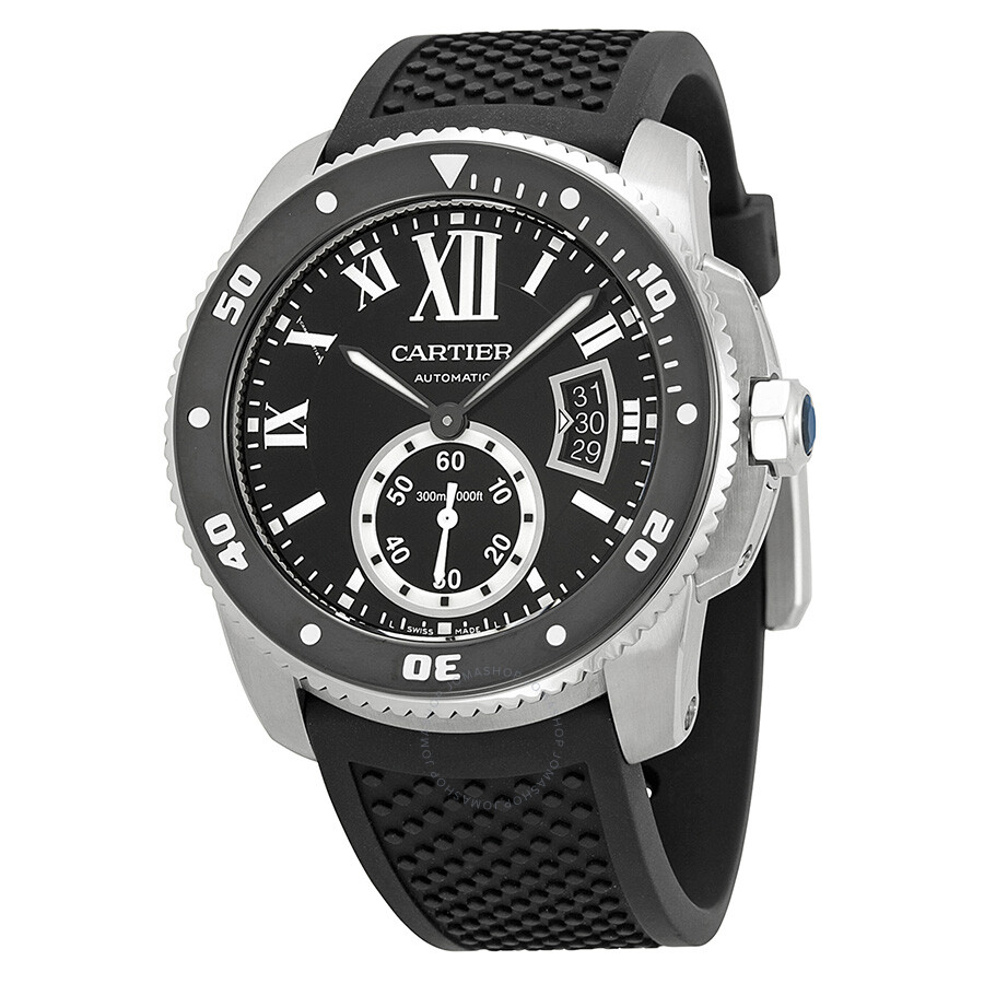 Cartier Calibre de Cartier Black Dial Rubber Men s Watch W7100056