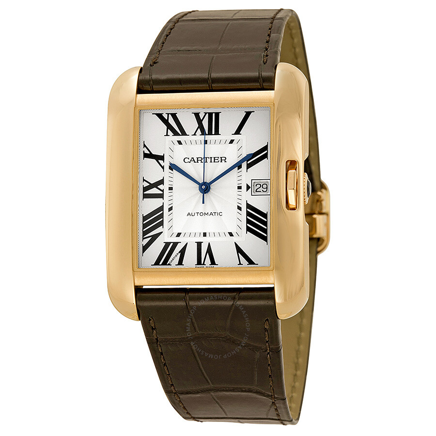 Cartier Tank Anglaise Silver Dial 18kt Rose Gold Brown Leather Men s     Cartier Tank Anglaise Silver Dial 18kt Rose Gold Brown Leather Men s Watch  W5310004