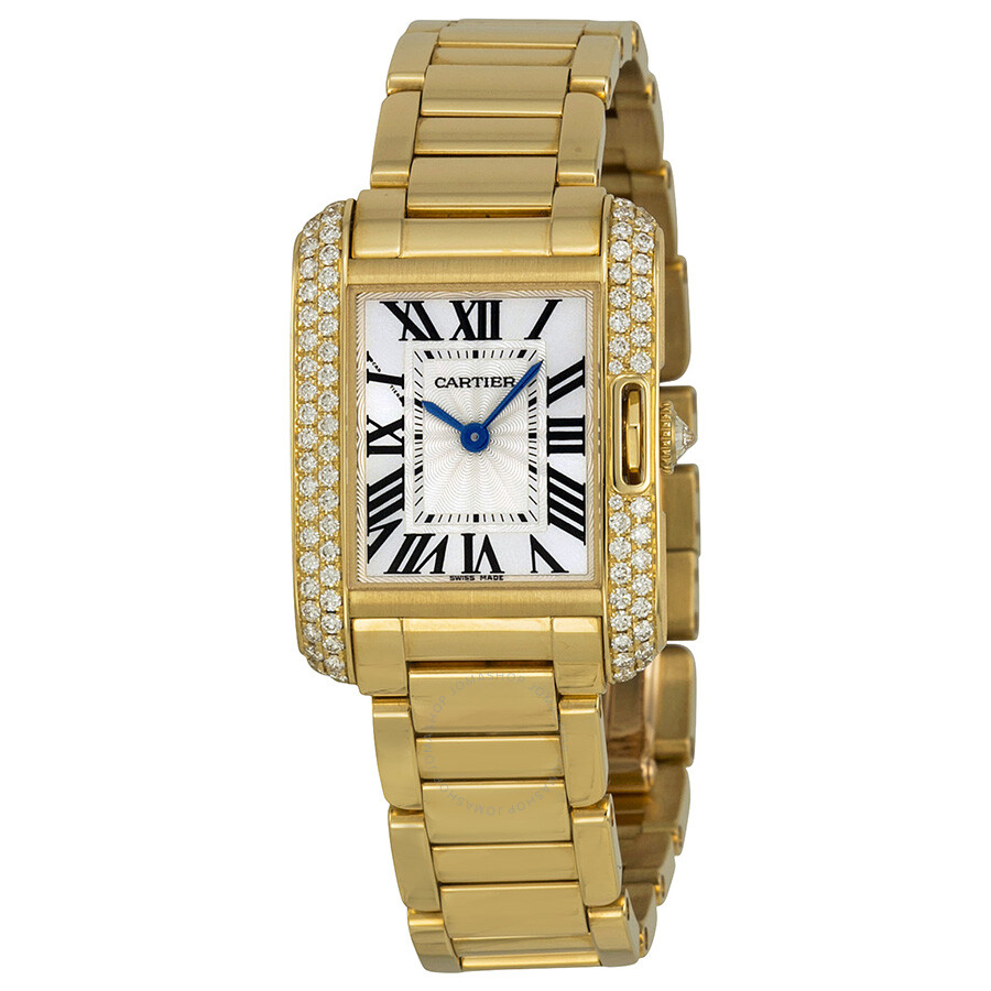 Cartier Tank Anglaise Silver dial 18kt Yellow Gold Ladies Watch     Cartier Tank Anglaise Silver dial 18kt Yellow Gold Ladies Watch WT100005