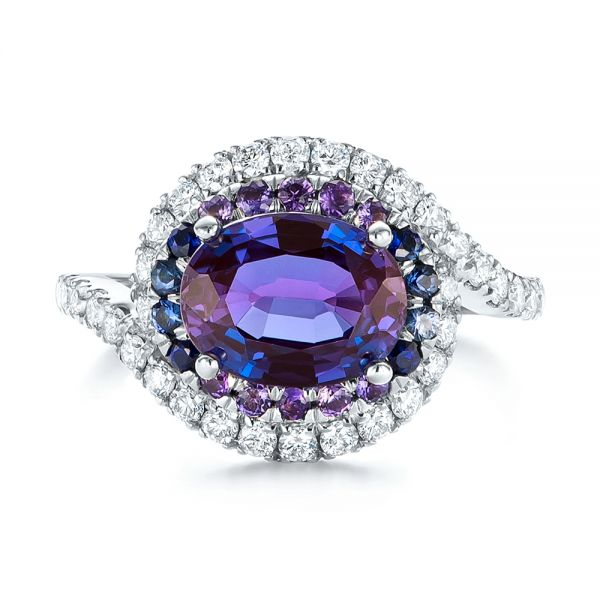 Custom Alexandrite Blue And Purple Sapphire And Diamond Halo Engagement Ring 103443 Seattle