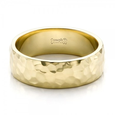 Custom Men s Hammered Yellow Gold Wedding Band     Custom Men s Hammered Yellow Gold Wedding Band   Flat View   100269    Thumbnail