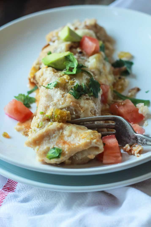 Easy Chicken Enchilada Recipe With Creamy Green Chili