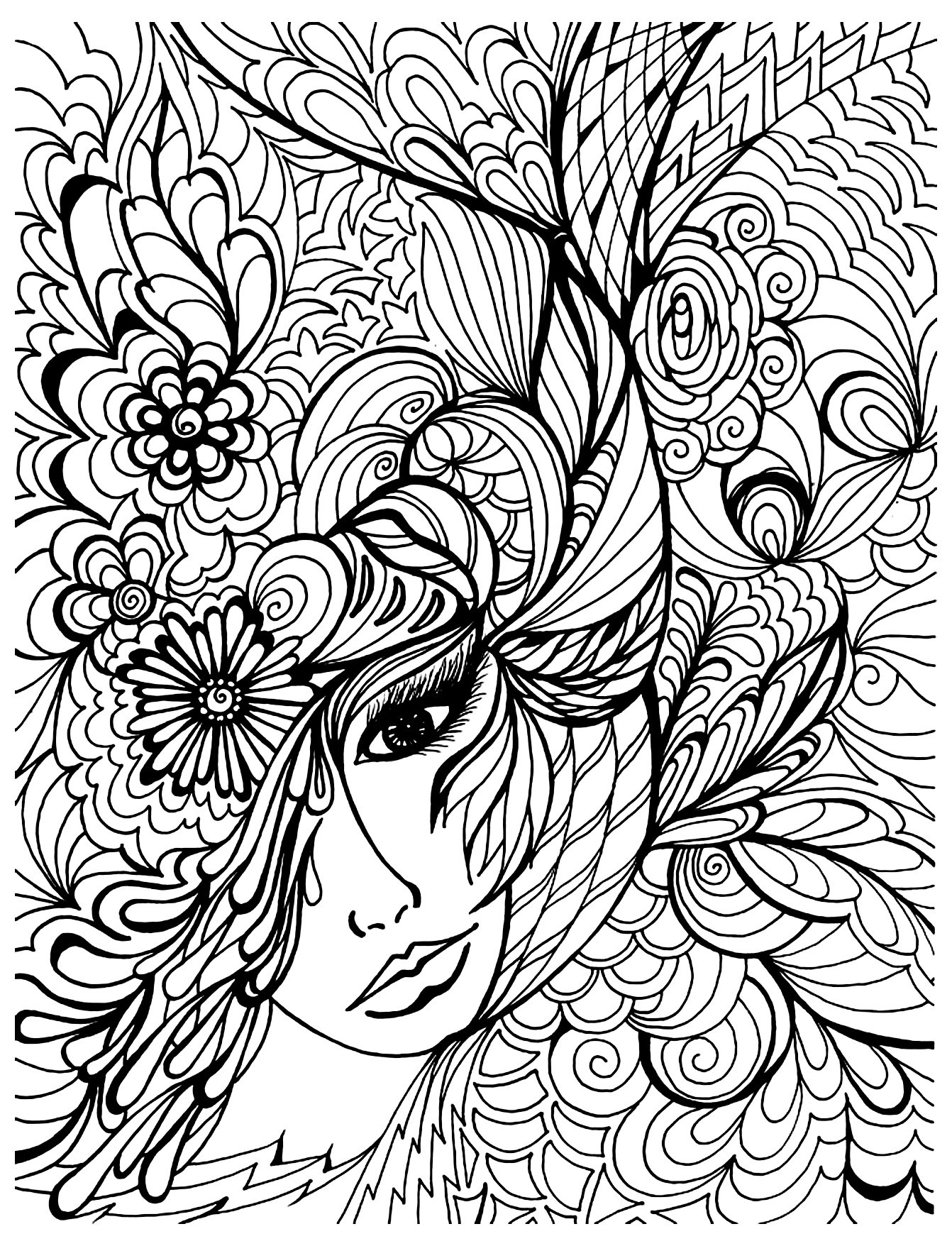 Face Vegetation Zen And Anti Stress Coloring Pages For Adults