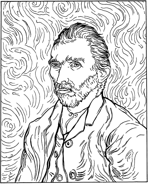 Van Gogh Autoportrait Masterpieces Coloring Pages For Adults