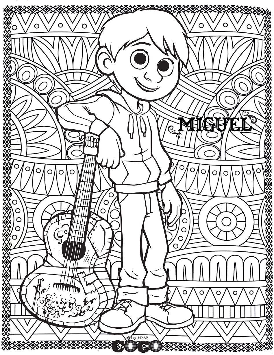 Disney Coco Miguel Return To Childhood Coloring Pages For