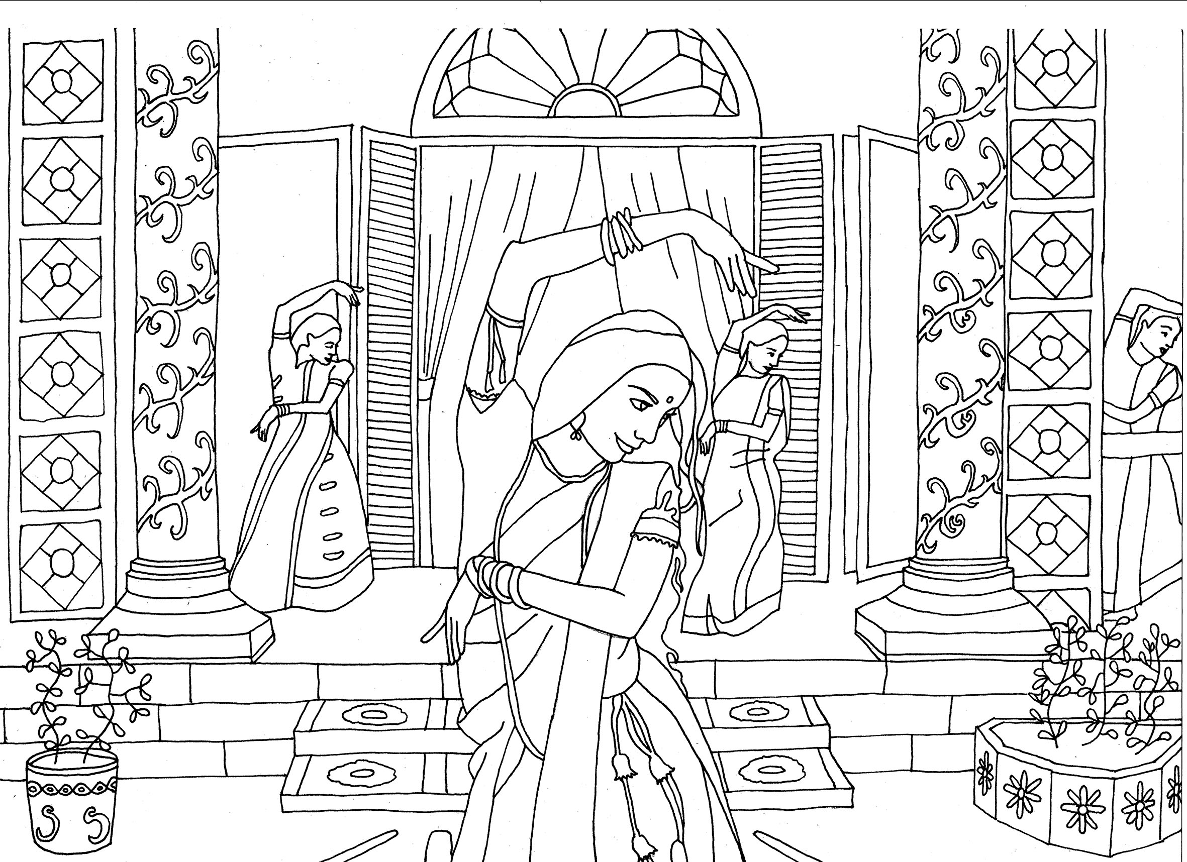 Indian Dancers By Marion C India Bollywood Coloring Pages