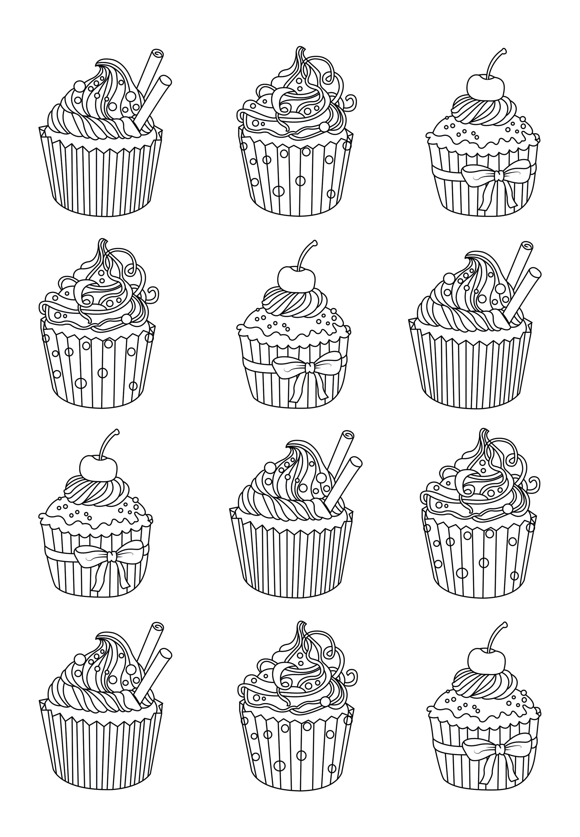 Cupcakes Easy Celine Cupcakes And Cakes Coloring Pages For