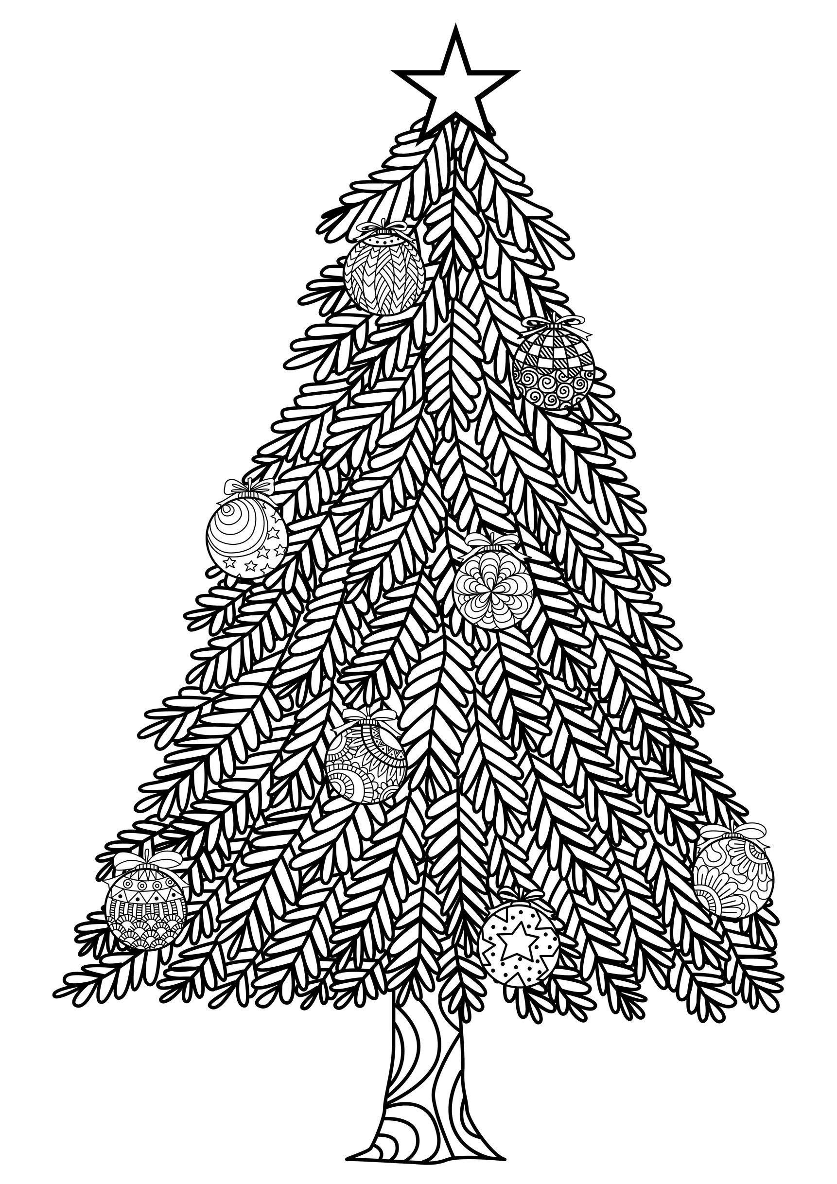 Christmas Tree With Ball Ornaments By Bimdeedee Christmas
