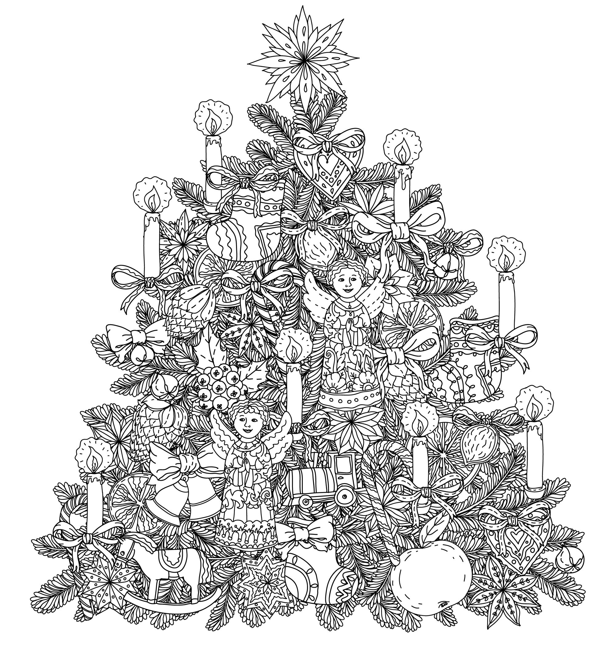 Christmas Tree With Ornaments By Mashabr Christmas Coloring