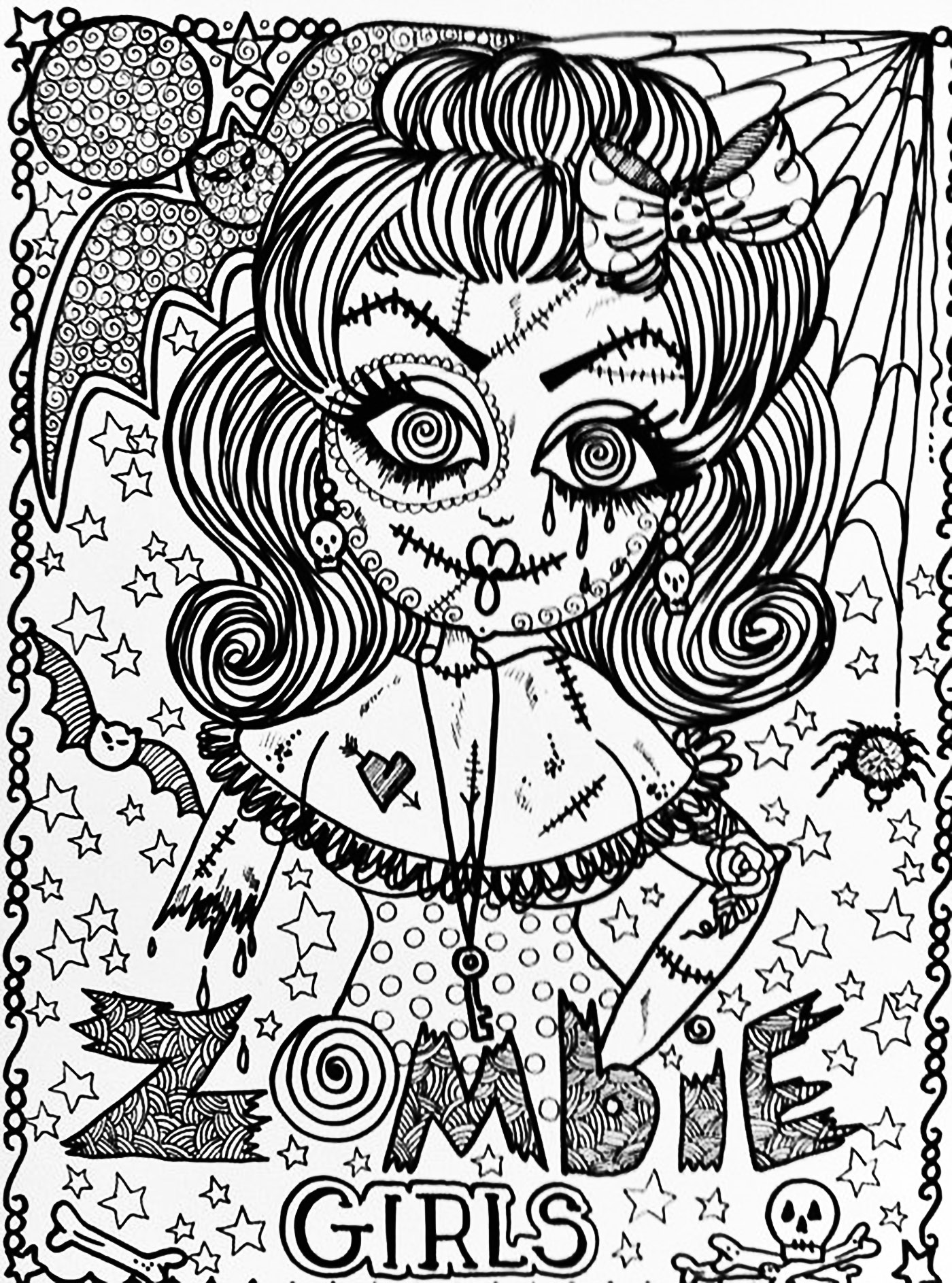 Halloween Zombie Girl Halloween Coloring Pages For Adults