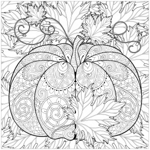fall leaves coloring page # 51