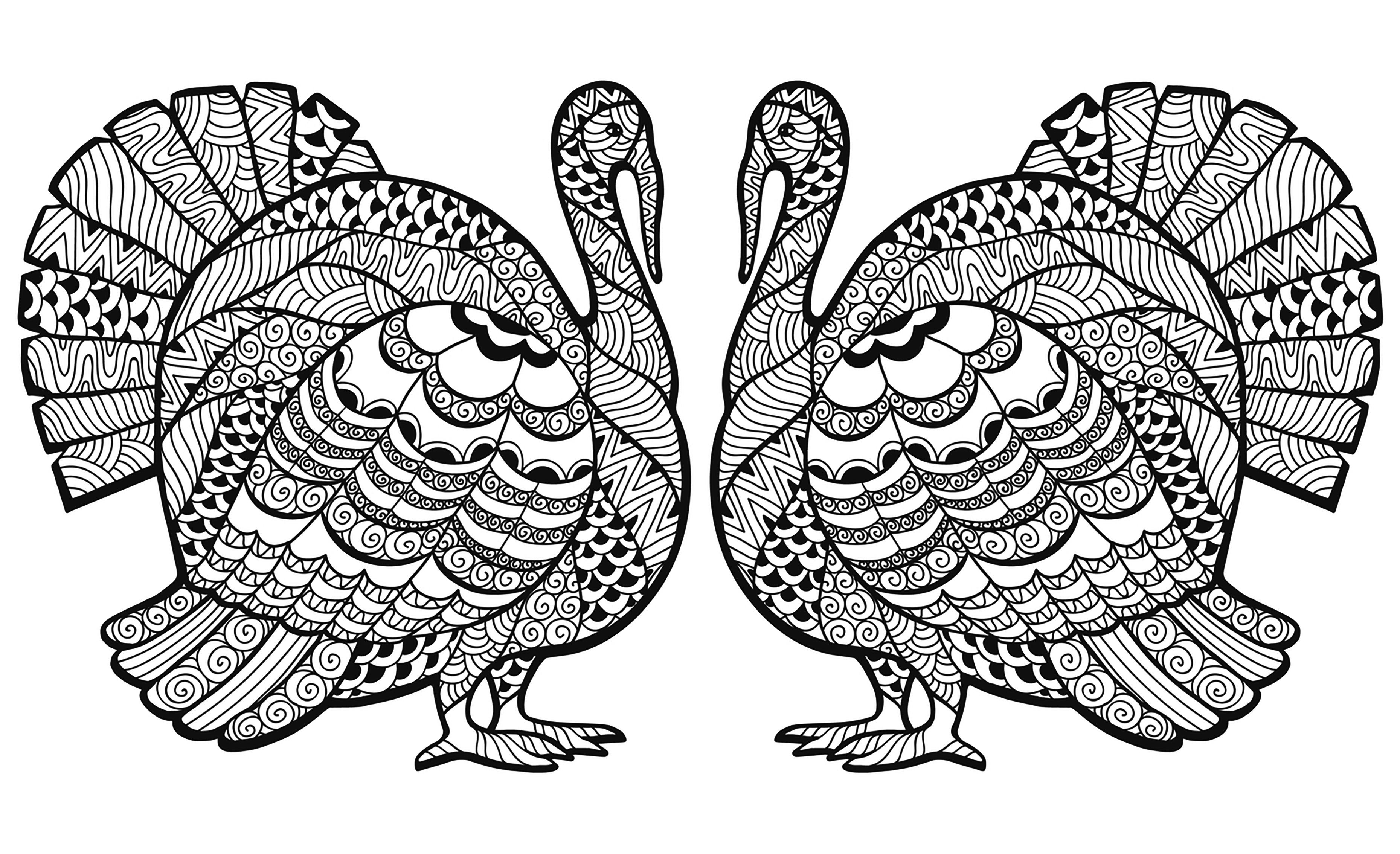 Thanksgiving Zentangle Turkey Double By Elena Medvedeva