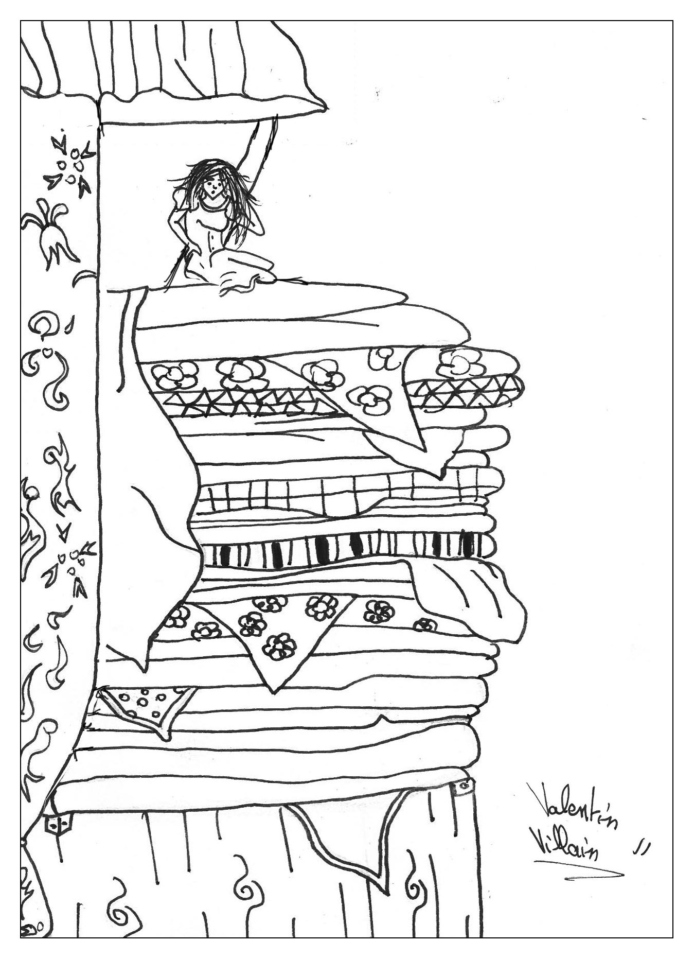 Princess Pea Fairy Tales Coloring Pages For Adults Justcolor