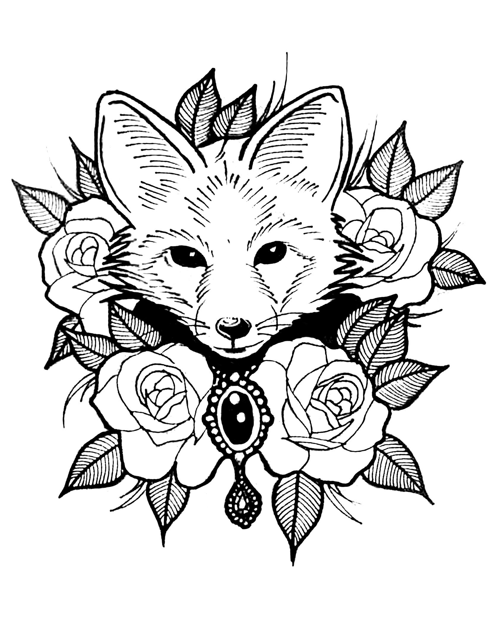 Fox Coloring Pages For Adults Justcolor