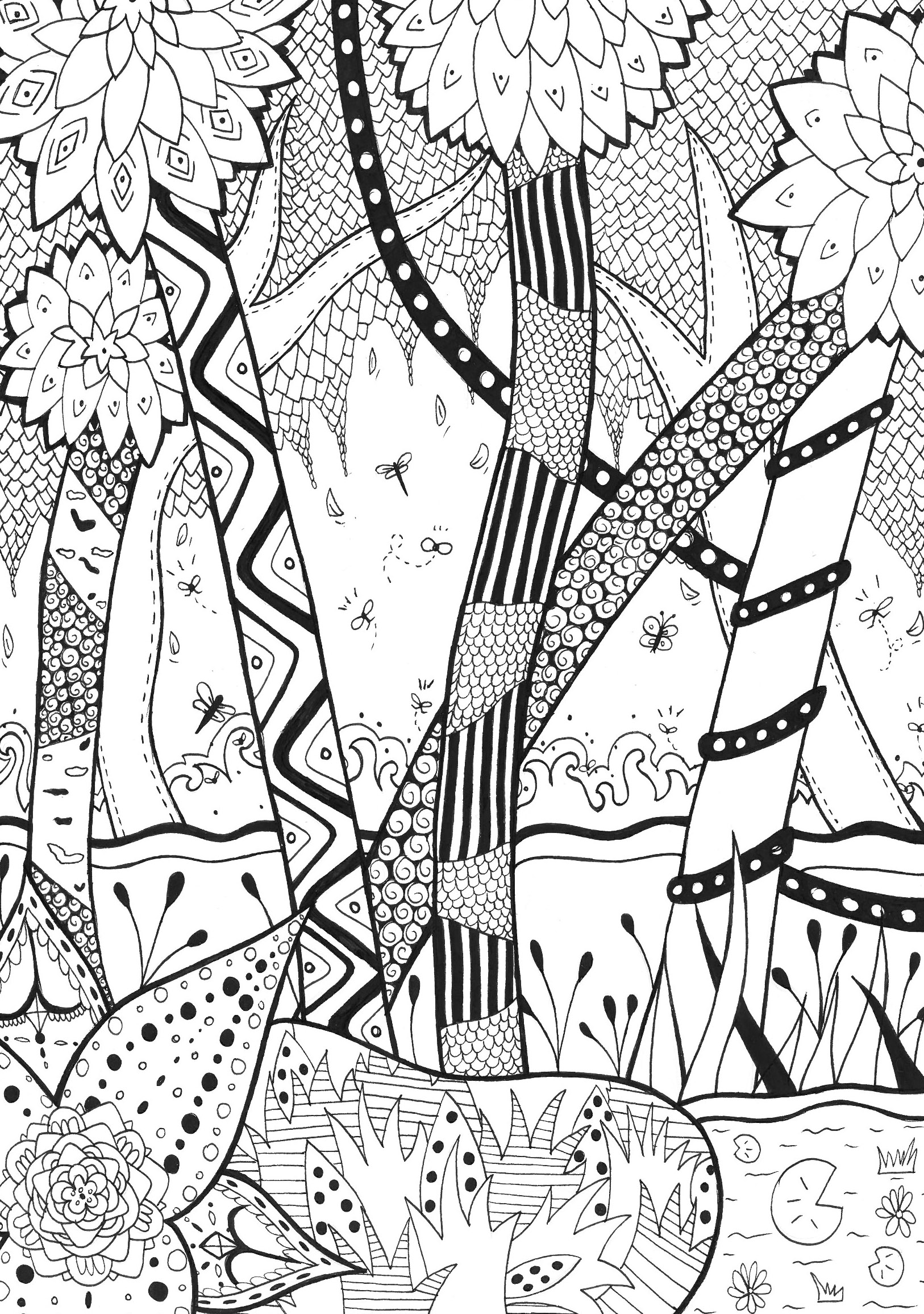 Jungle Forest Coloring Pages For Adults Justcolor