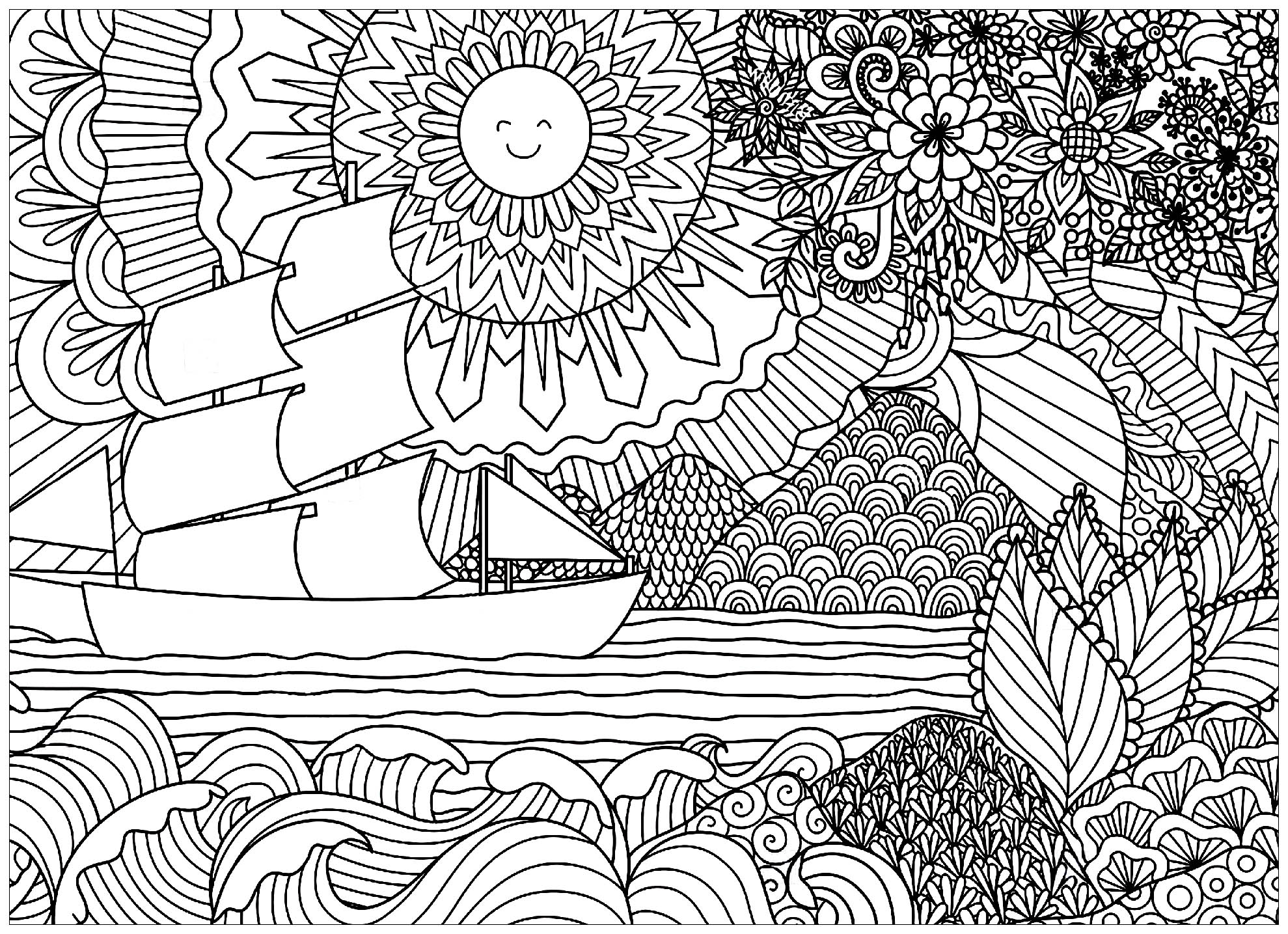 Seascape With Sun And Boat Landscapes Coloring Pages For