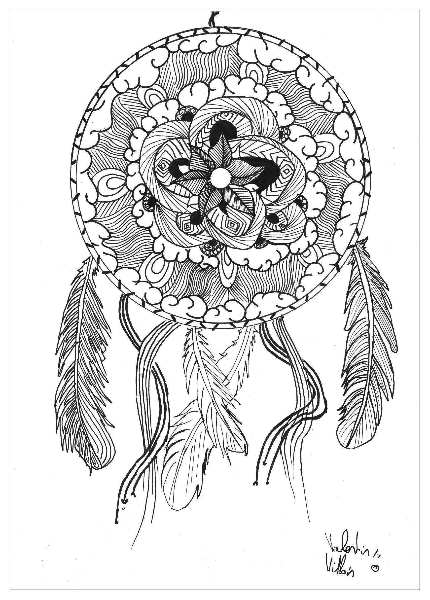 Draw Mandala Dream Catcher By Valentin Mandalas Coloring Pages