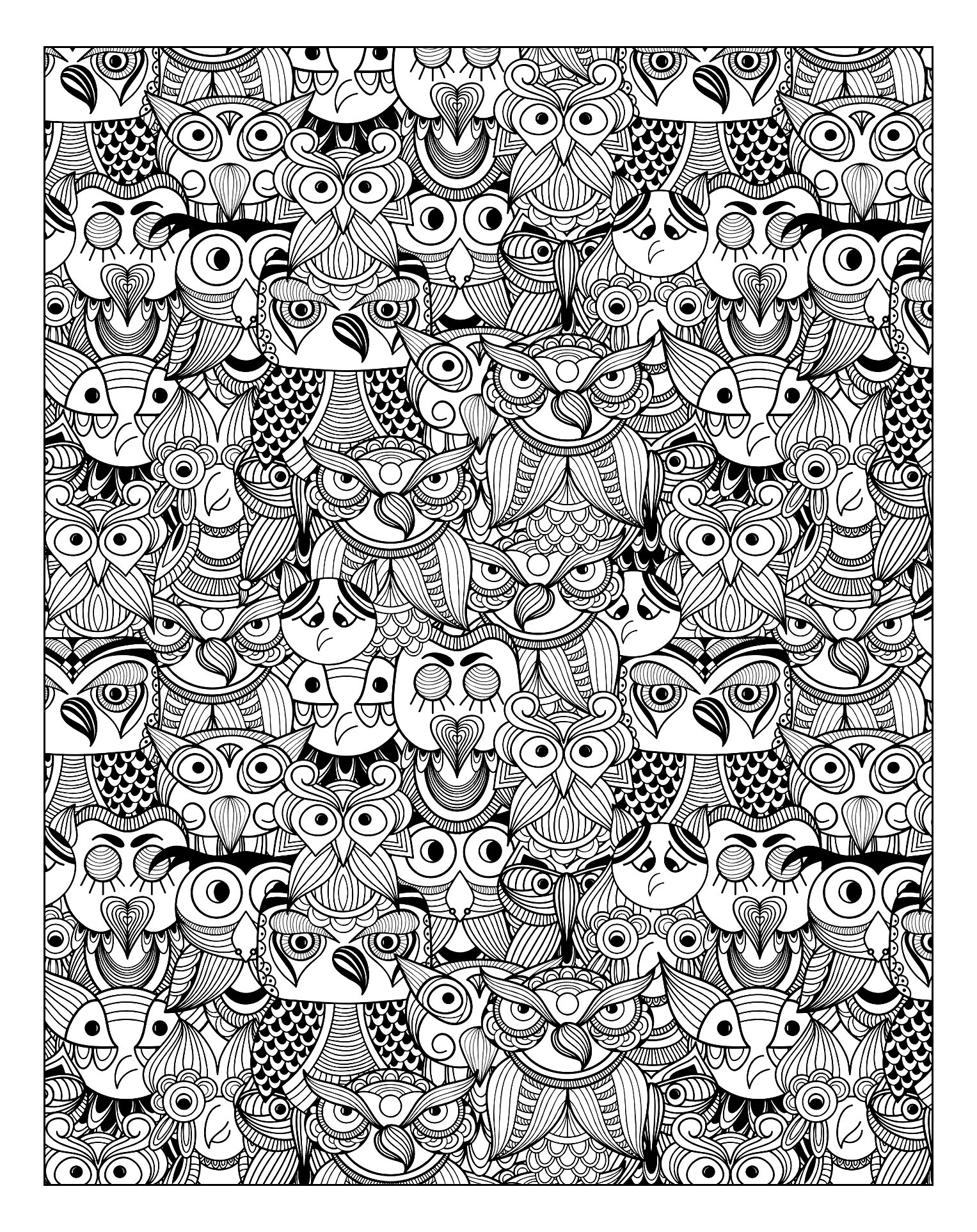 Owls Owls Coloring Pages For Adults Justcolor