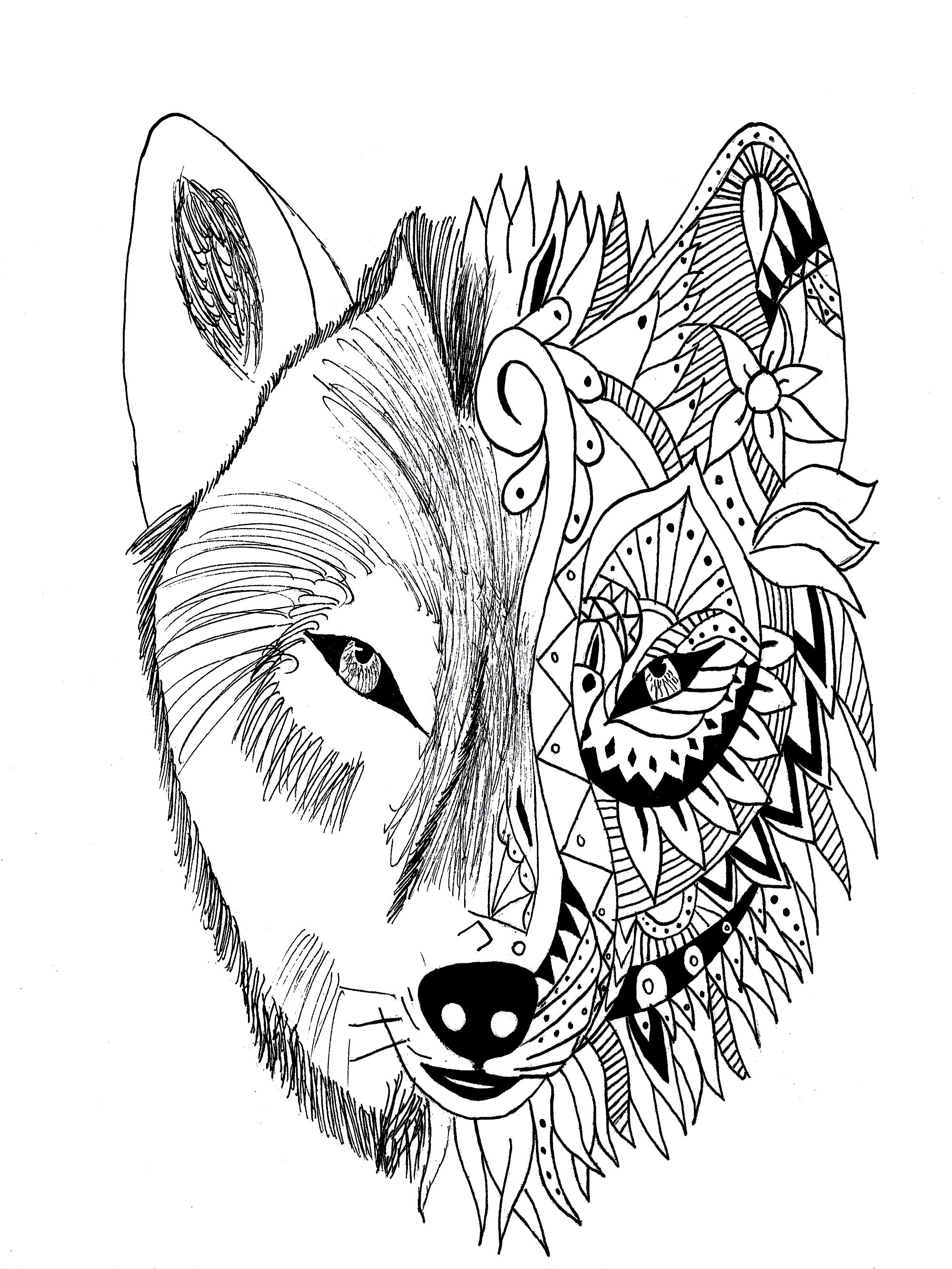 Wolf Coloring Pages For Adults Justcolor