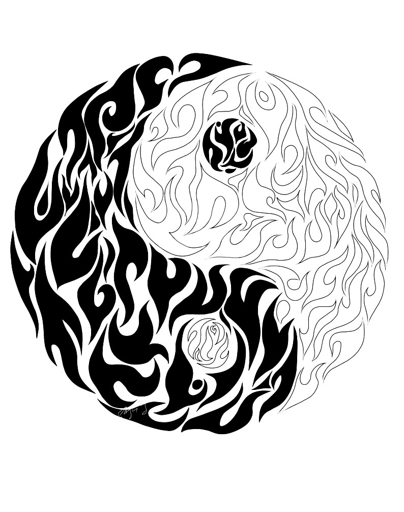 Coloring Yin Yang Details Tibet Coloring Pages For Adults