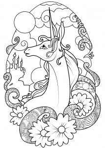 free unicorn coloring pages # 43