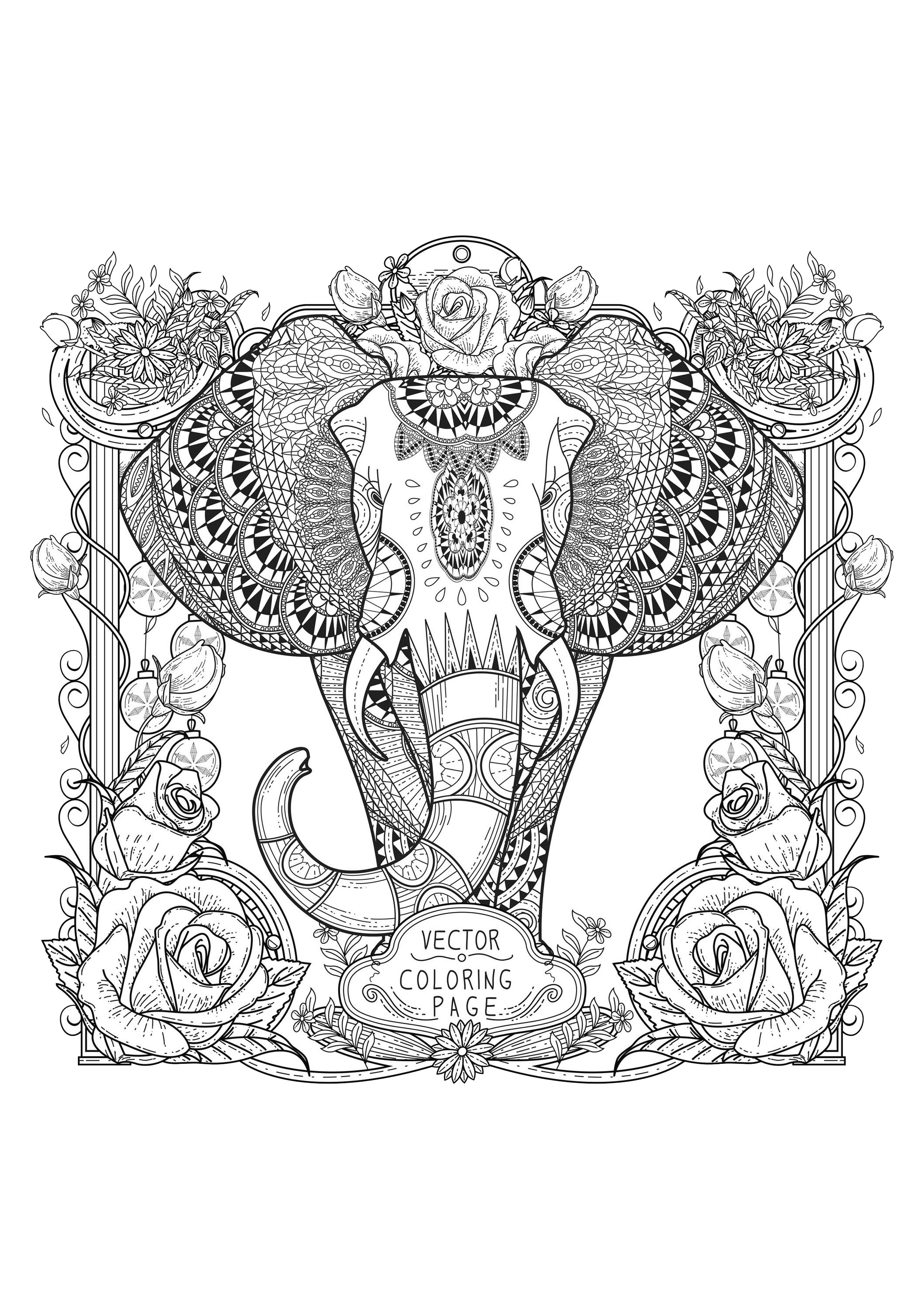 Cooring Zentangle Elephant Zentangle Coloring Pages For Adults