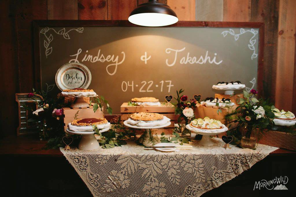 Who says it has to be cake  Pie Bars  Cannoli Bars  Dessert Bars  We     Wedding pies instead of a wedding cake  Beautiful display from Just Simply  Delicious in Waynesville