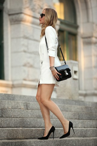 Black And White Outfits   Just The Design Wear your black shoes and bag with a simple white short dress   Sophisticated Via