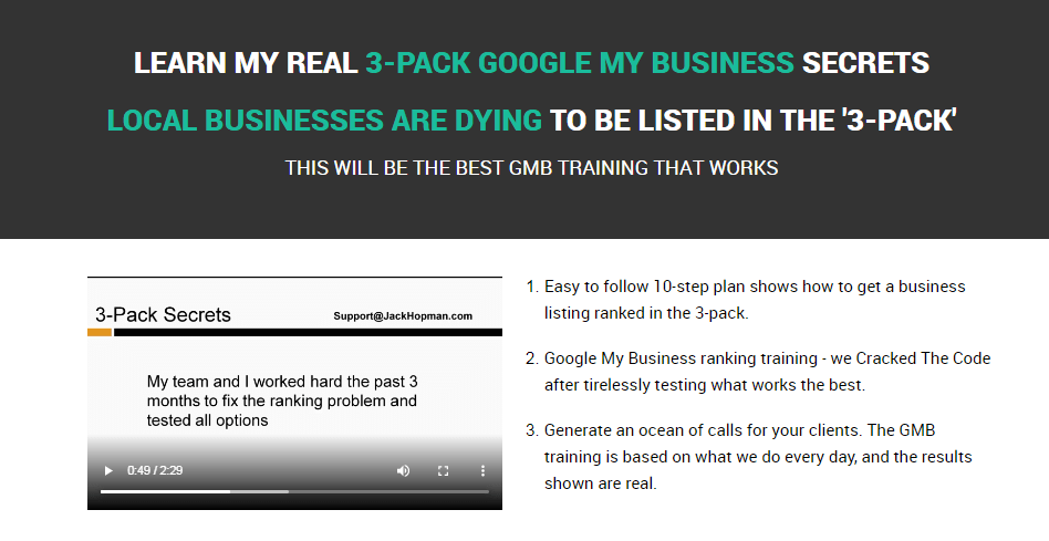 GMB 3-Pack Google My Business Secrets & OTO Upsell by Jack Hopman