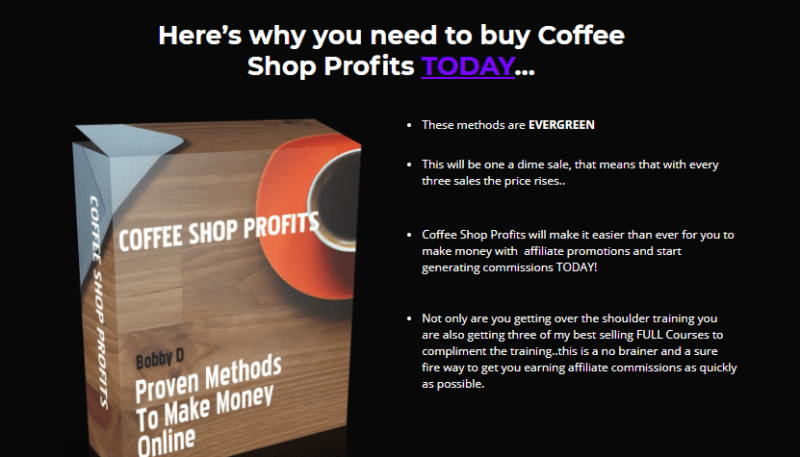 Coffee Shop Profits & OTO by Bobby Dolcee