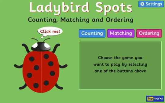 K 2 IWB Resources  Number Ladybird Spots