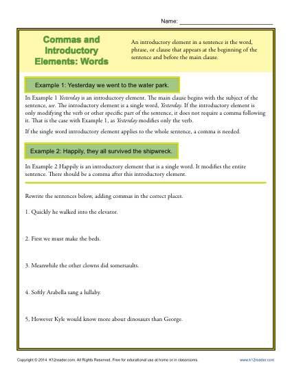 2nd Grade Sentences Worksheets
