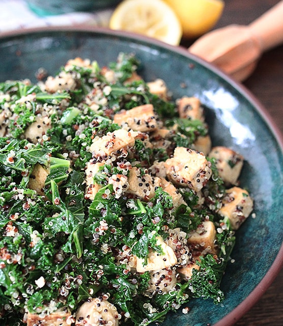 Kale tofu mushroom quinoa featured