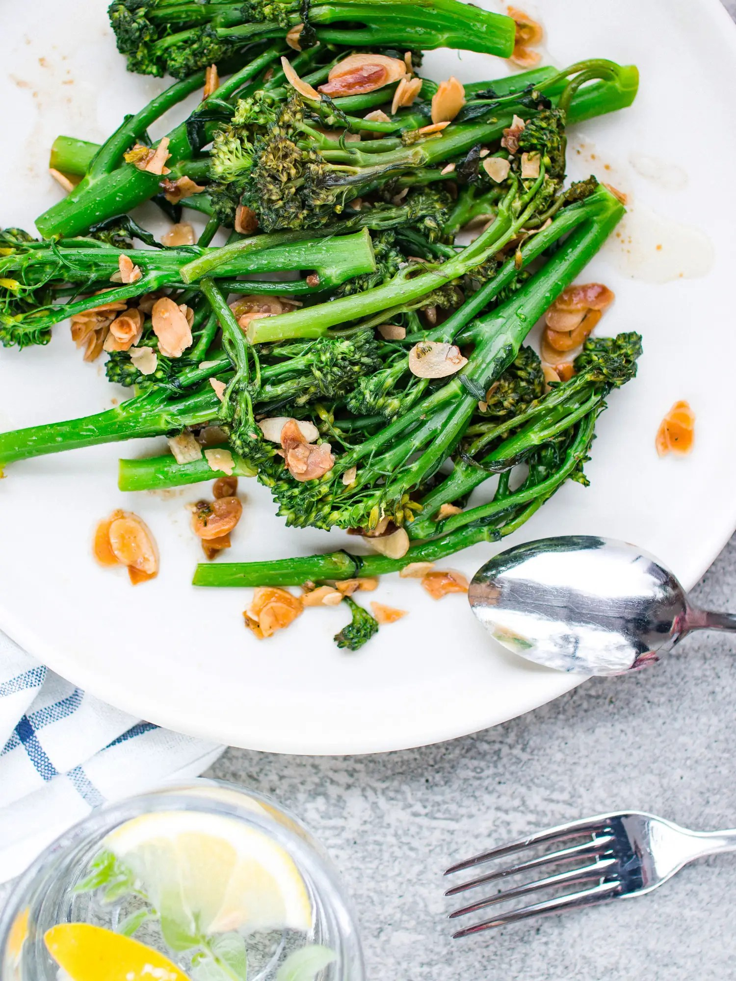 k33kitchen tenderstem broccoli with garlic almond 1
