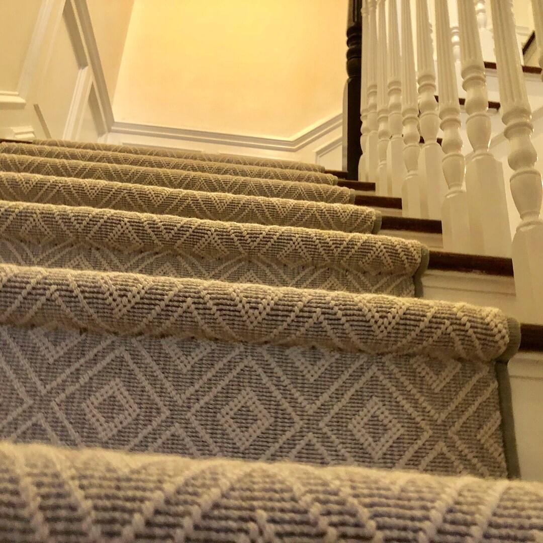 Kanter S Carpet Design Center Our Work   Stanton Carpet Stair Runners   Light Grey   Craftsman   Stairway   Leopard   Popular