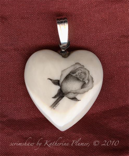 Scrimshaw Rose Heart Pendant By Katherine Plumer