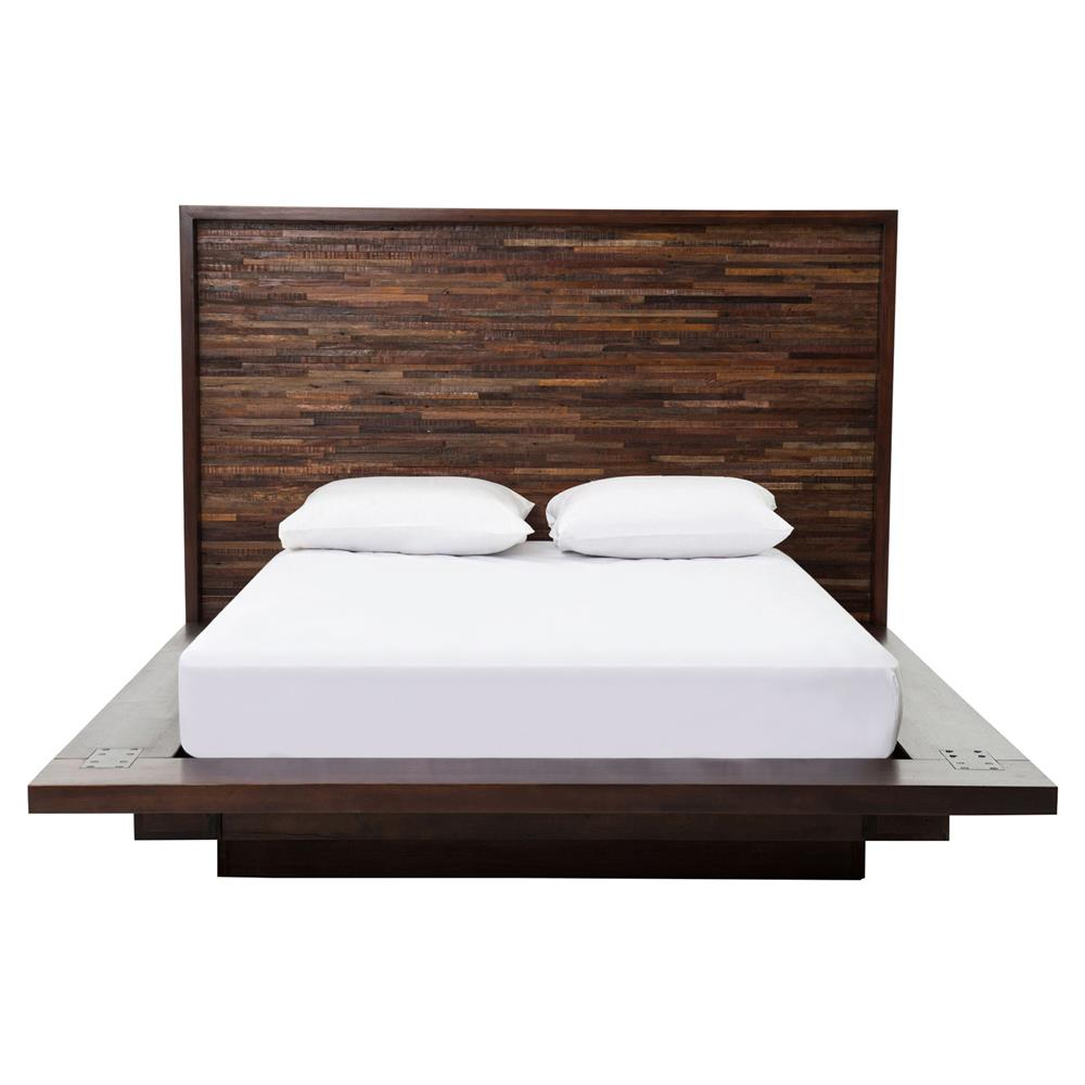 Larson Modern Classic Variegated Wood Headboard Platform Bed   Queen view full size