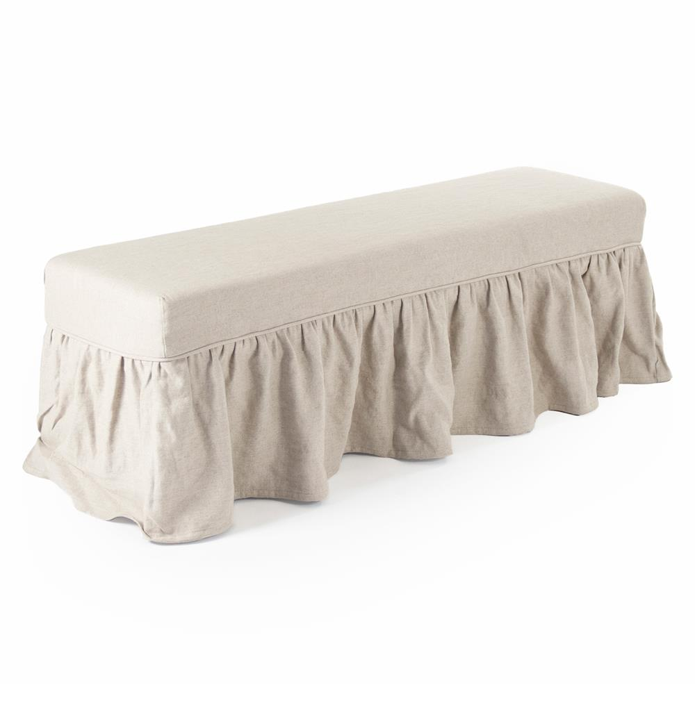 Delors French Country Linen Slipcover Skirt Bench Kathy