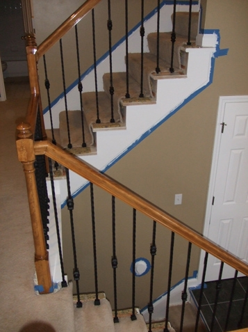 Iron Spindle Gallery Before And After Kc Wood   Carpeted Stairs With Wood End Caps   Stair Railing   Waterfall   Diy   Capped   Step